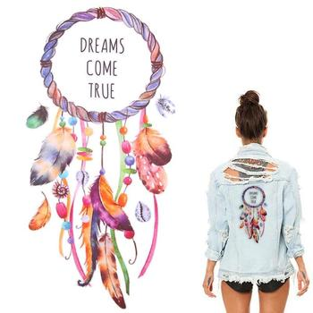 3D DIY Feather Dream Catcher Iron On Transfer Clothes Patches Logo Patch Cool Badges For Clothes Hippie Heat Transfer T-shirt