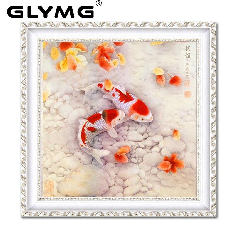 Glymg DIY Cuadros de punto de cruz pisce figura peces brillante diamante Bordado carpa cristal rhinestone diamante redondo animal