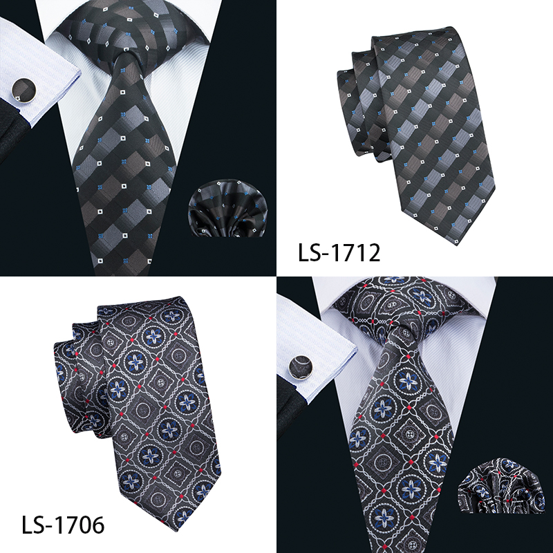 Plaid 100% Silk Men's Woven Necktie Hanky Cufflink Set