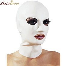 Unisex White Rubber Latex Mask Plus Size Fetish Zentai Hood Open Eyes and Mouth Hot Sale Customize Service LM127