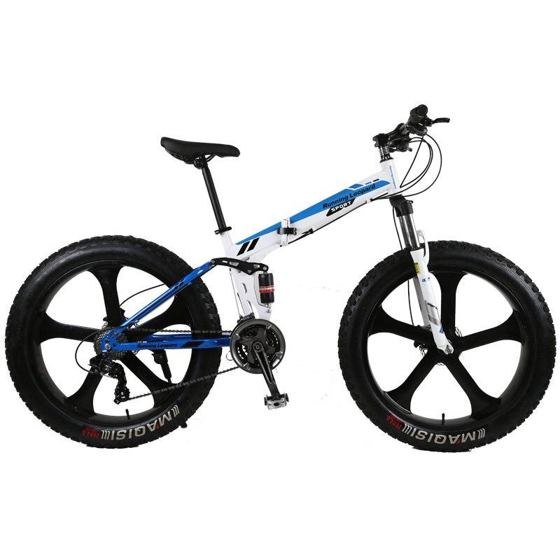 Haute qualité pliant fatbike 26*4.0 gros pneu amortisseur avant et arrière double frein à disque de vélo de montagne route