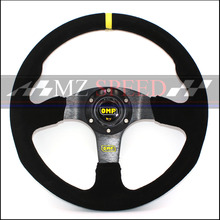 Car accessories 14 (350mm) For OMP Racing Steering Wheel leather yellow or red line game flat