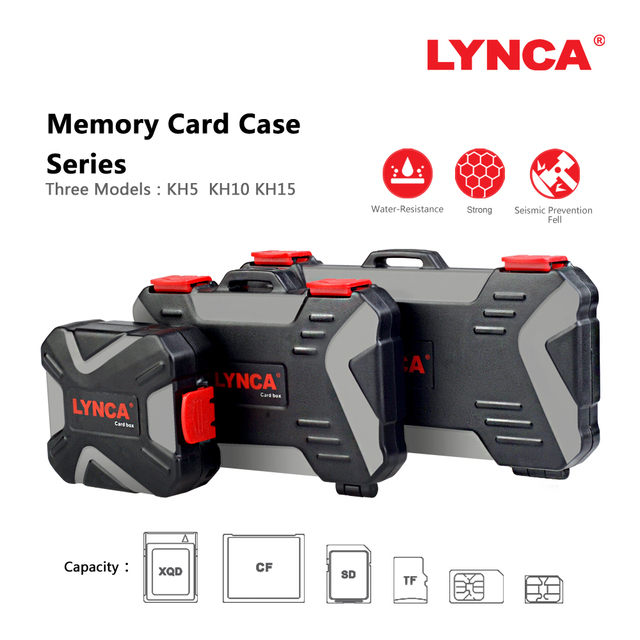 LYNCA Waterproof Memory Card Case Holder Storage Sim Micro TF SD Card Case Storage Box Holder Wallet Bag Carrying Pouce Case