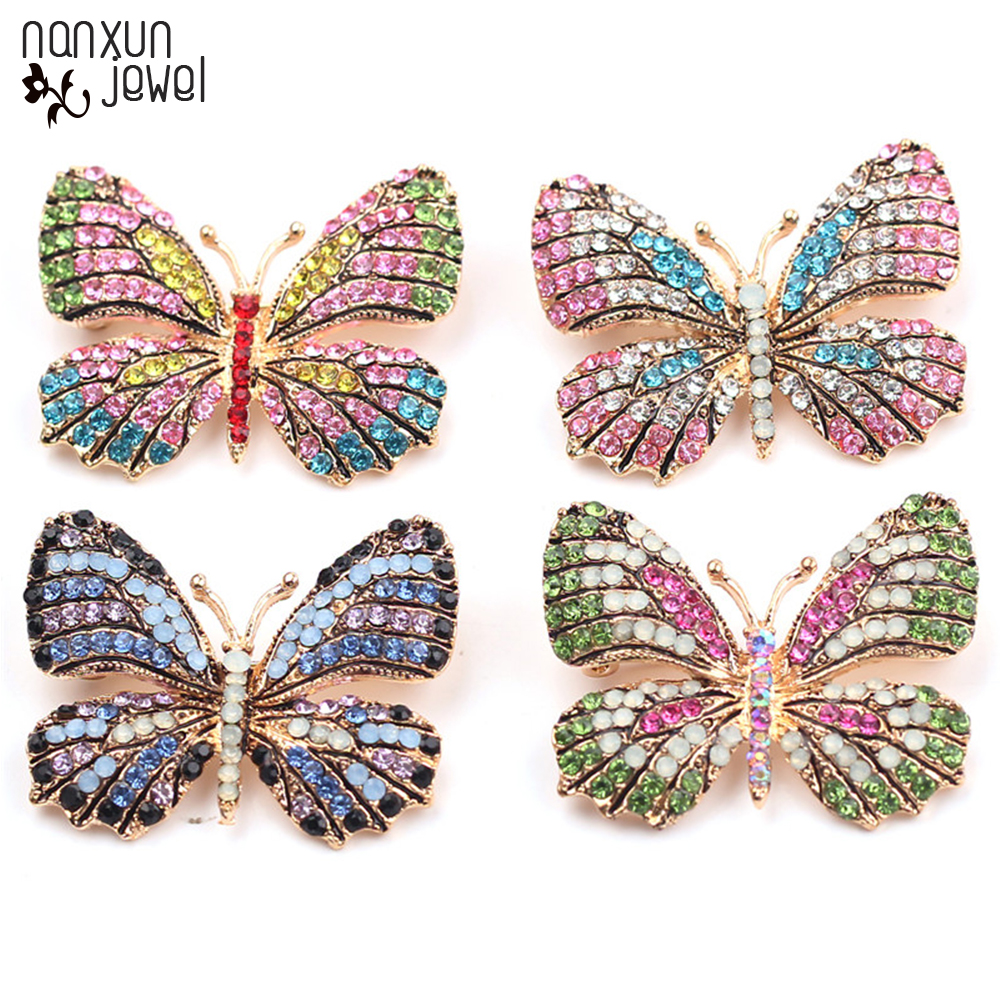 Новая красочная эмалированная Брошь Стразы в виде бабочки с кристаллами, булавка на лацкан, аксессуары для сумки, одежды, модная женская бро...