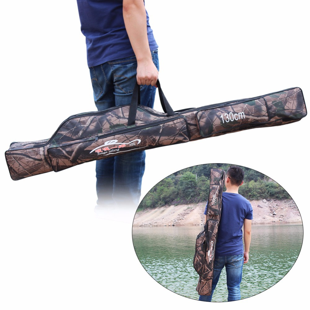 130cm Portable Fishing Bags Folding Fishing Rod Case Fishing Gear Tackle Bag Carrier Canvas Pole Storage Bag