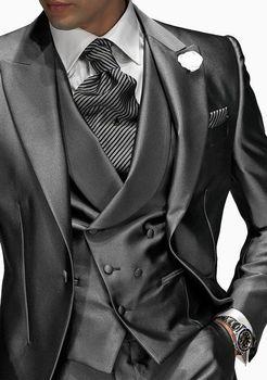 Fashion Peak Lapel Groomsmen Best Man Suit Formal Men Groom Wear Wedding suits C198