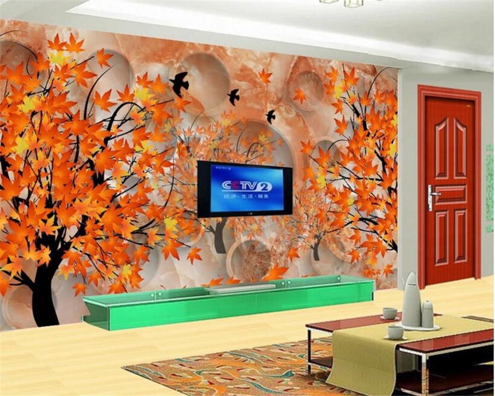 Peindre Papier Peint Motif €7.33 47% de réduction beibehang personnalisé haut niveau décoratif  peinture papier peint stéréo tuile motif couleur sculpté feuille d'érable  fond 3d