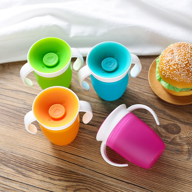 Cup 360 Rotated Cups With Double Handle Baby Trainning Feeding Safe Leakproof Bottle Infant Water Bottle Cup Kids Silicone Mug