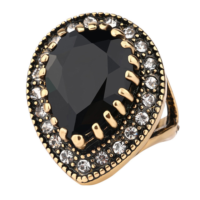 2017 Big Water Drops black Punk Ring For Women Plating Gold Mosaic CZ Zircon Tur