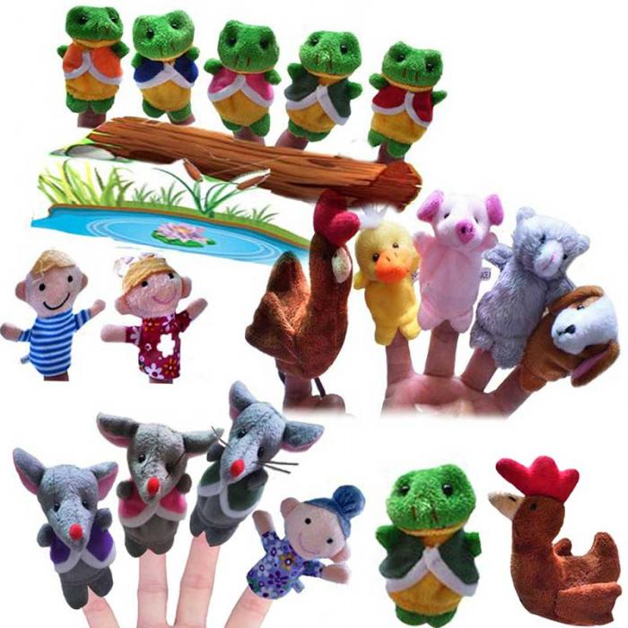 5 Pcs Frog Hen Mouse Animals Story Telling Finger Puppets 1