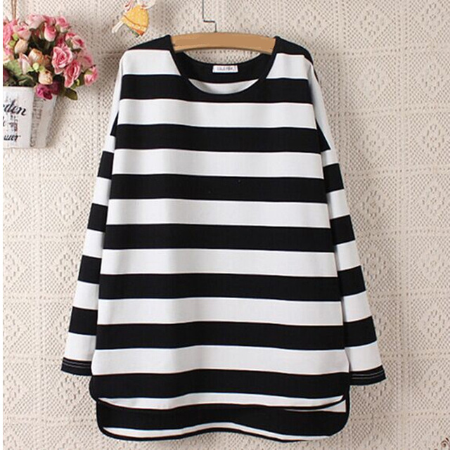 ab31c0be5df7 Spring new arrival free size Korean style women simple t shirt printing  machine plus size loose long stripe t shirt