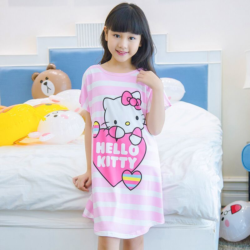 children short sleeved Nightgown suit Children's summer nightdress Girls lovely Home Furnishing clothes Children's Day gifts marulong s0002 women s fashionable flower pattern short sleeved nightdress green multi color