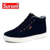 SUROM Brand High Quality Real Leather Mens Women Winter Snow Boots Unisex Warm Plush Shoes Casual