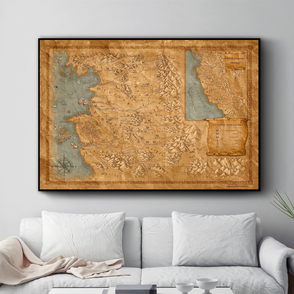 Decorative World Map Poster.The Witcher 3 World Map Posters And Prints Wall Art Decorative