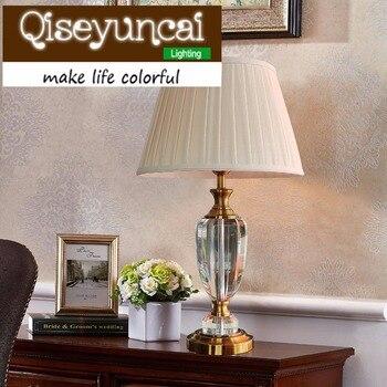 Qiseyuncai proste nowoczesne luksusowe ślubne ciepłe, ciepłe światło światło światła regulowany LED kryształ lampa kreatywny sypialnia lampka nocna