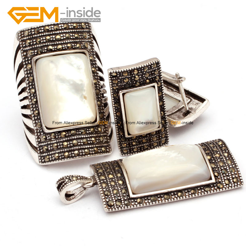 Image 4 - Antiqued Silver Ring Earrings Pendant Jewelry Sets Rectangle  Agates Beads Fashion Jewellery Set Free Shipping Wholesale Gempendant  jewelry setsfashion jewelry setjewelry sets