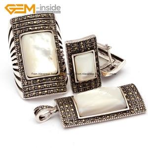 Image 4 - Antiqued srebrny pozłacany pierścień kolczyki wisiorek biżuteria ustawia prostokąt agaty z koralików modne zestaw biżuterii klejnot