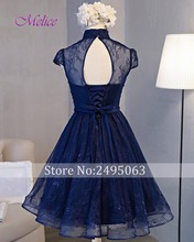 Melice New Fashion High Neck Button Vintage Homecoming Dress 2017 Charming Sashes Party Gown Short Sleeve Lace Graduation Dress