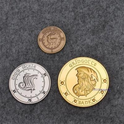 Anime Movie Gringotts Bank Gringotts Wizarding Bank Gold Coin Badge HP Oof Cosplay Set Of Coins Unum Sickle Unum Knut Metal