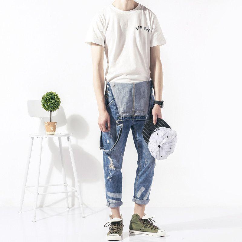 2019 Primavera Autunno Moda uomo skinny jean tuta Casual tute di jeans per  gli uomini di Sesso Maschile denim Strappati Bretelle della tuta Bavaglini  050701