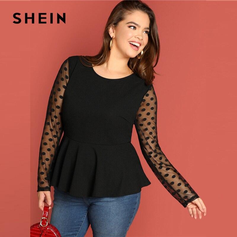 SHEIN Black Highstreet Elegant Plus Size Dot Contrast Mesh Sleeve Peplum Ruffle Hem Top Tee Autumn Women Casual Women Tshirt