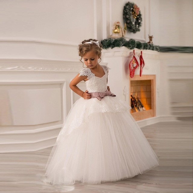 Weiße Blume Mädchen Kleider Für Hochzeit Kleider Flügelärmeln Spitze ...