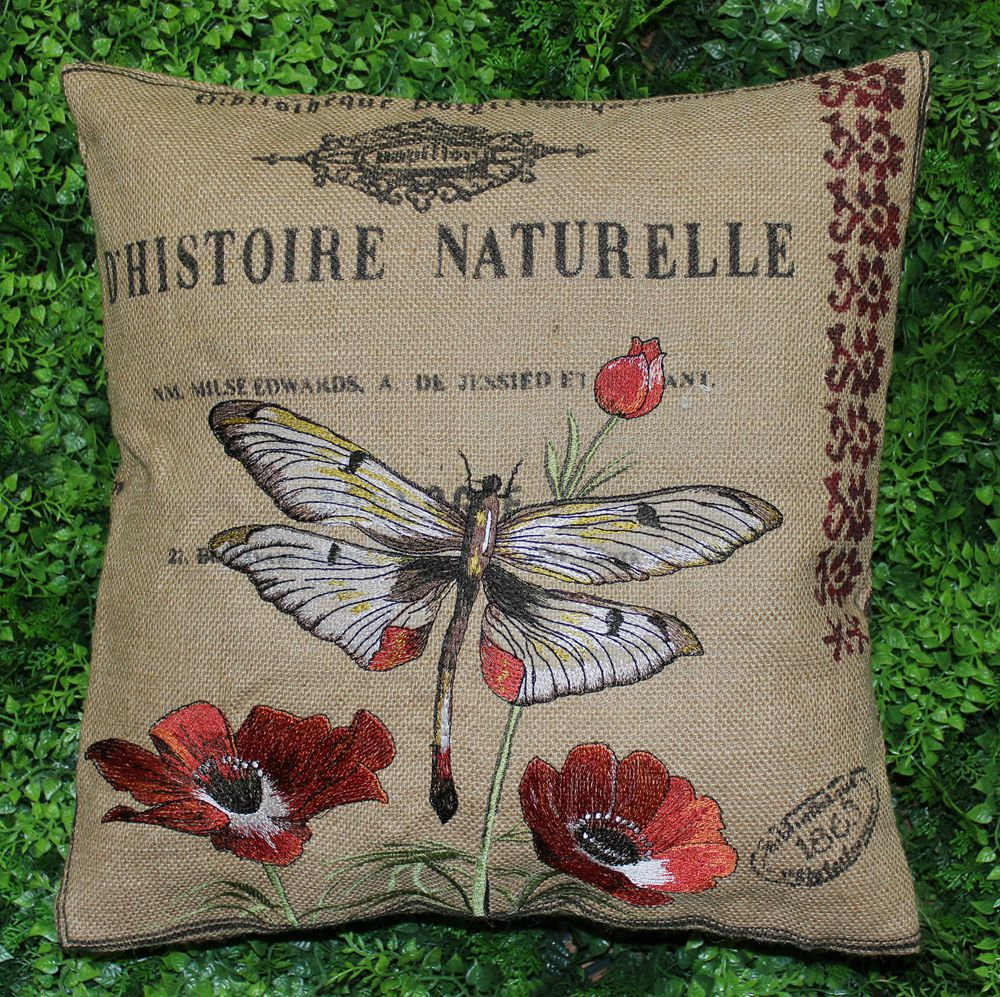 VEZO HOME embroidered floral butterfly burlap cushions