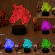 USB Novelty Gifts 7 Colors Changing Animal Horse LED Night Lights 3D LED Table Desktop Lamps Home Decoration acrylic 7 colors changing animal horse led nightlights 3d light led desk table lamp usb 5v lamps for home decoration