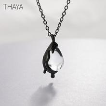 Thaya 40センチメートルもはや悲しみネックレス手作り白色結晶925スターリングシルバースケール光女性ガールジュエリーギフト