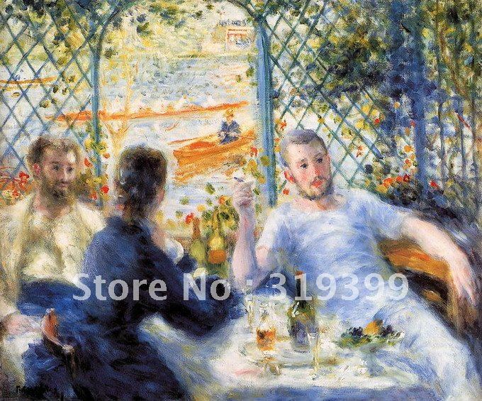 Free DHL Shipping,handmade,Oil Painting Reproduction on canvas,the canoeists luncheon by pierre auguste renoir,museum qualityFree DHL Shipping,handmade,Oil Painting Reproduction on canvas,the canoeists luncheon by pierre auguste renoir,museum quality