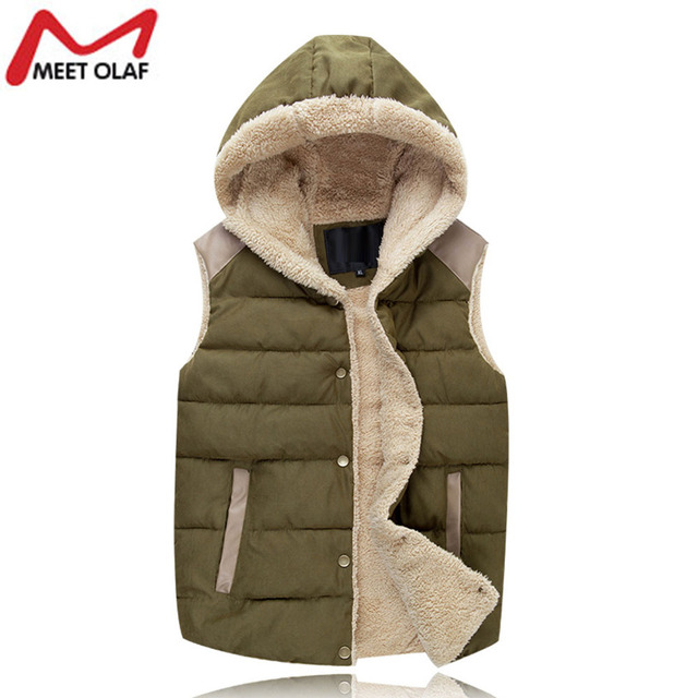 Winter Vest Men Male Hooded Thick Warm Fleece Men'S Vests Fashion Mens Vests Sleeveless Jacket Chaleco Hombre