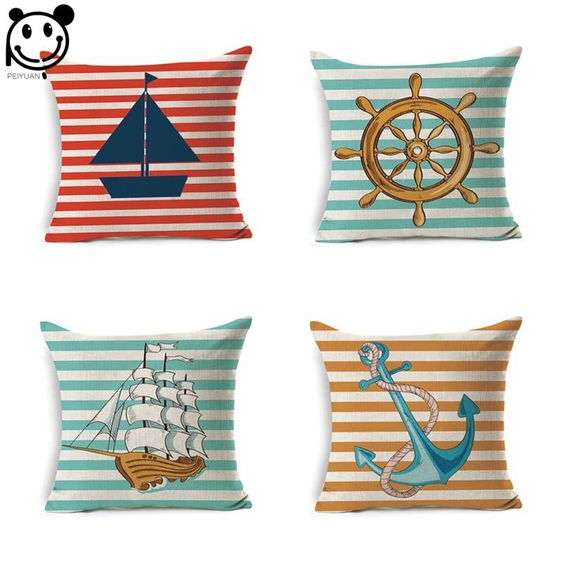 PEIYUAN New Design Anchor Nautical Custom Linen Print Boat Rudder Anchor Stripes Square Ocean Cushion Cover