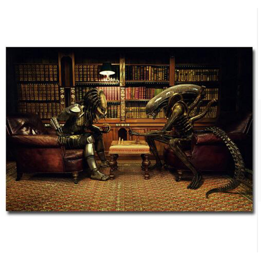 Alien VS Predator Play Chess Movie New 12x18 24x36 Silk Art Poster