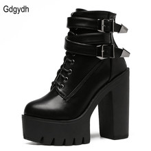 Fashion 2016 Brand Autumn Women Boots High Heels Platform Buckle Lace Up Leather Short Booties Black Ladies Shoes Good Quality