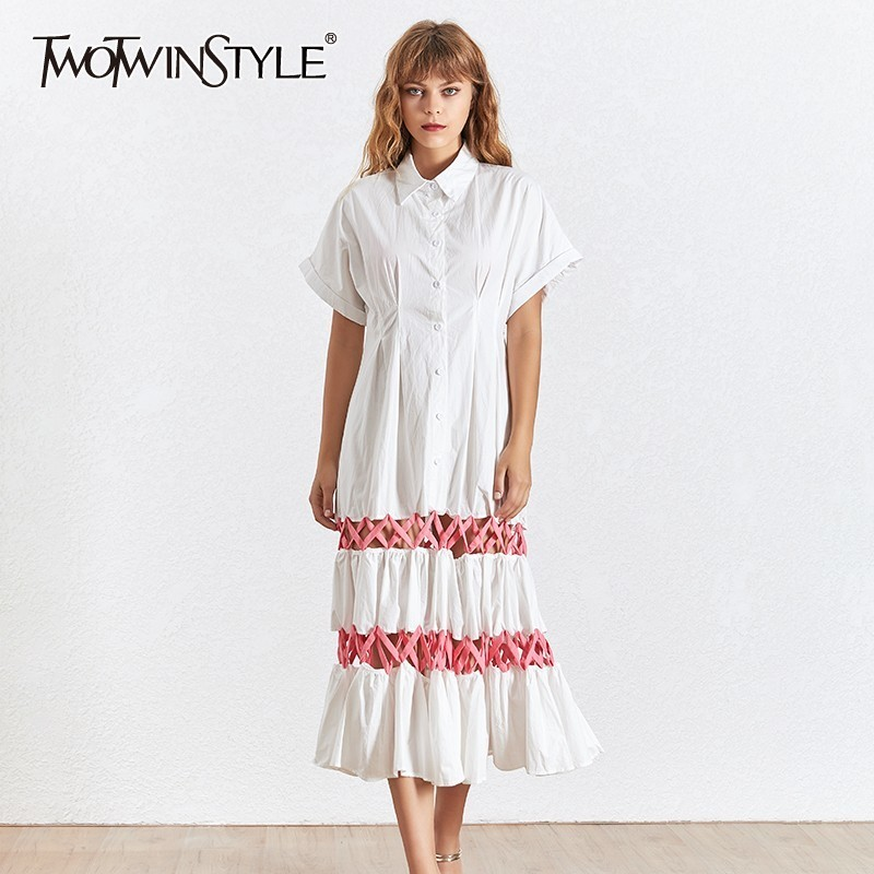 TWOTWINSTYLE Summer Bandage Dress For Women Lapel Collar Short Sleeve High Waist Hollow Out Midi Dresses Female Fashion 2020