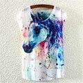 2016 NUEVA Impresión de tinta pintura de caballos hermoso verano de manga corta Camiseta cuello Redondo camiseta de las mujeres tops