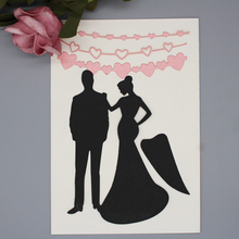 Bride and groom Metal cutting dies DIY Scrapbook card Album Wedding Invitations Stencil 130*92 mm