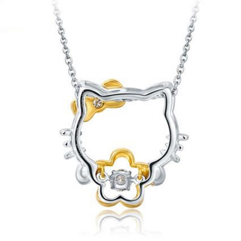 100% 925 sudraba sudraba sudraba kaklarota kulons Hello Kitty Hello - Skaistas rotaslietas - Foto 5