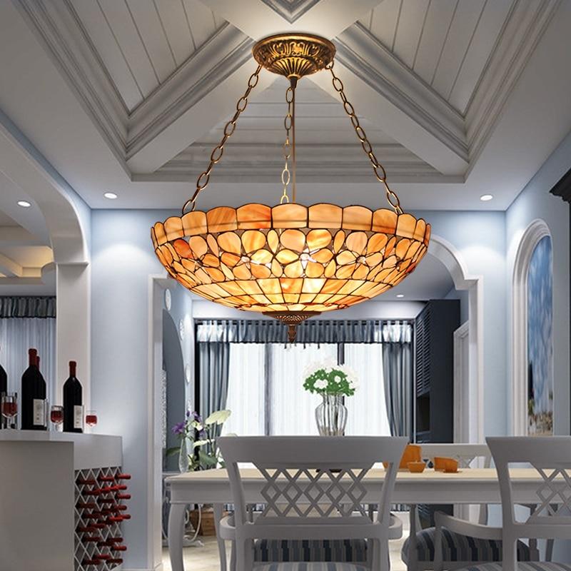 Mediterranean Style Lighting: 20INCH Tiffany Europe Shell Pendant Light European