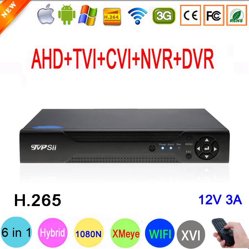 1080P / 960P / 720P CCTV Camera XMeye Hi3521D H.265 + 16 Channel 16CH 1080N 6 in 1 Hybrid Wifi TVi CVI NVR AHD DVR Video Recorder