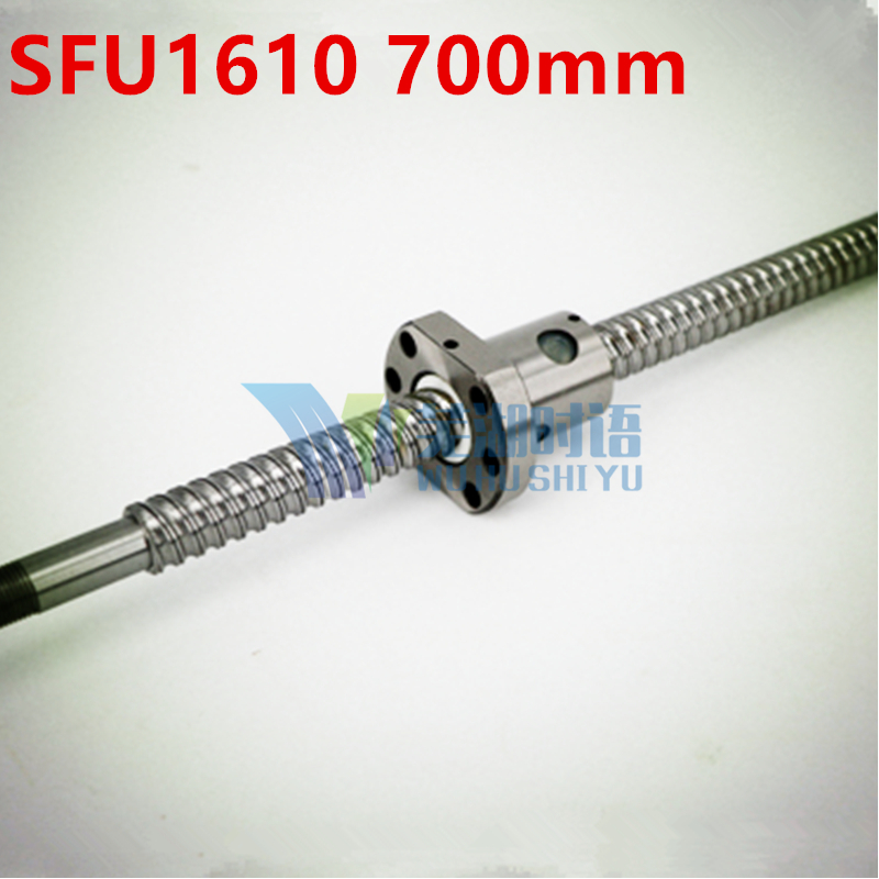 SFU1610 700mm 16mm Ball screw SFU1610 length 700 mm plus 1pcs RM1610 1610 Ballnut CNC DIY Carving machine BK/BF12 machined