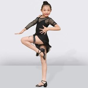 Image 3 - شرابة اللاتينية فستان رقص للفتيات الأطفال السالسا التانغو قاعة فستان رقص الاطفال ممارسة الرقص الملابس المنافسة ازياء