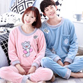 NEW Winter Couple Pajama Sets Adult Sleep Wear For Women/Men Pajamas Cartoon Warm Sleepwear