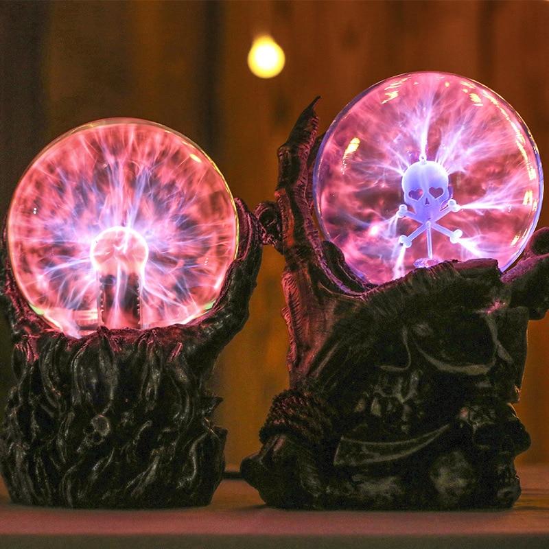Novelty Glass Magic Plasma Ball Light Skeleton Hand Negative Ion Magic Ball Table Lamp Sphere Night Light Gift Party Decro