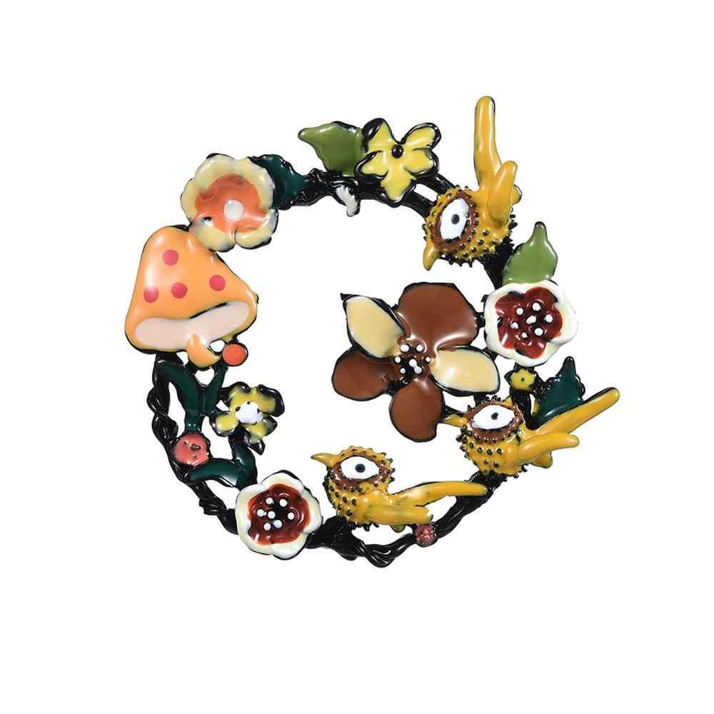 Cring Coco 2019 Del Progettista Grandi Fiori Spille per le Donne di Marca del Metallo delle Donne con Animali Uccelli Smalto Cerchio Spilla Spilli Gioielli spille