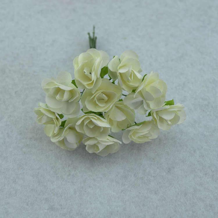 12 Pcs/Banyak 1.5 Cm Buatan Kecil Mawar Kertas Buatan Tangan Perlengkapan Pesta Pernikahan Mobil Dekorasi Bunga Buatan