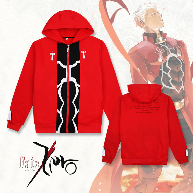 Anime Fate Stay Night UBW Archer Emiya Hoodies Cosplay Costumes warm winter Red Coat Jacket Daily Casual Sweater Sportswear