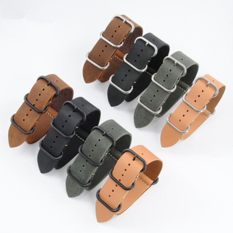 TJP 1PCS 18MM 20MM 22MM 24MM 26MM Green Khaki Black Brown Genuine Crazy Horse Leather Bracelet NATO Watch Strap bands tjp handmade classic 18mm 20mm 22mm 24mm brown green khaki black nato genuine crazy horse leather sport pilot watch bands strap