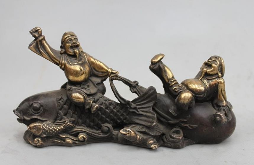 Wang671115580+++China Feng Shui Bronze Copper Fish Tortoise East God Of Wealth Buddha Statue