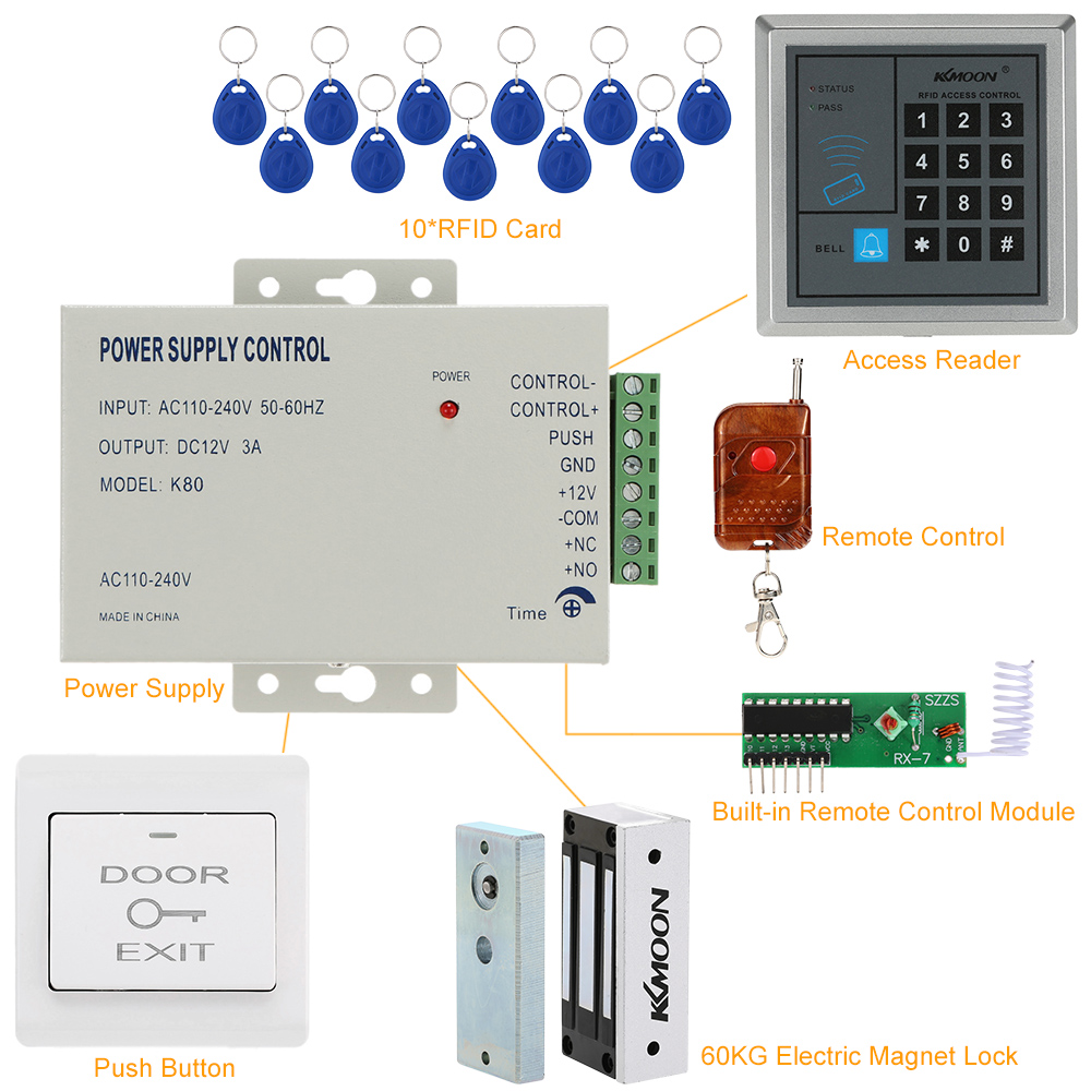 US $104 53 |KKmoon RFID Proximity Card Access Control System 125KHz RFID  Keypad Card Access Control Door Opener + 60KG Electric Magnet Lock-in  Access